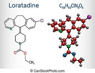 molecule., antihistamínico, modelo, él, allergies., fórmula, utilizado, loratadine, estructural, c22h23cln2o2, químico, molécula, gusto