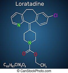 molecule., antihistamínico, plano de fondo, él, allergies., fórmula, utilizado, loratadine, estructural, c22h23cln2o2, químico, azul, oscuridad, gusto