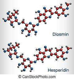 molecule., chemische , flavanone, glycoside, diosmin, hesperidin, strukturell, modell, venös, behandlung, drogen, flavonoid, disease., formel, molekül