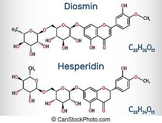 molecule., chemische , flavanone, glycoside, diosmin, hesperidin, strukturell, venös, behandlung, drogen, flavonoid, disease., formel