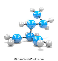 Molecule - Blue and White Molecule on White Background 3D...