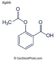 molecule., droga, esquelético, aspirin., fórmula, vector, ...