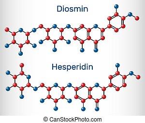 molecule., flavanone, glycoside, diosmin, hesperidin, modell, venös, behandlung, drogen, flavonoid, disease., molekül