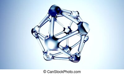 Molecule from water 3d illustration over blue background. 3d...