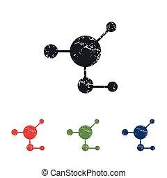 Molecule grunge icon set