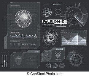 Molecule hologram and futuristic hud elements - Futuristic...