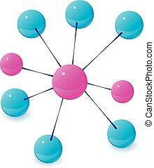 Molecule icon, isometric style