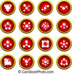 Molecule icon red circle set