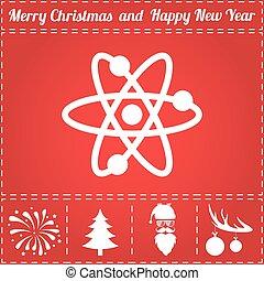 Molecule Icon Vector. And bonus symbol for New Year - Santa...