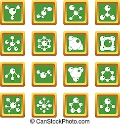 Molecule icons set green