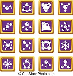 Molecule icons set purple
