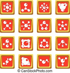 Molecule icons set red