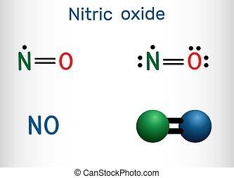 molecule., modèle, protoxyde, formule, structural, chimique, molécule, oxyde, azote, nitric, non