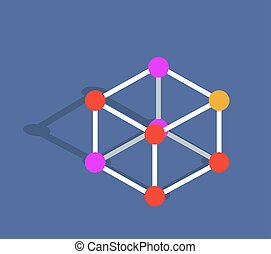 Molecule Mode Vector Illustration Isolated on Blue -...