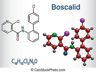 molecule., molécule, chimique, formule, modèle, boscalid, structural