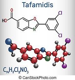 molecule., molécule, chimique, formule, modèle, tafamidis, structural