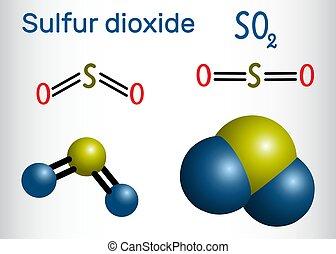 molecule., molécule, so2), chimique, bioxyde, soufre, bioxyde, formule, modèle, (sulphur, structural