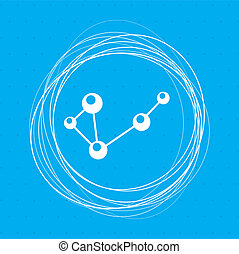 Molecule on a blue background with abstract circles around and place for your text.
