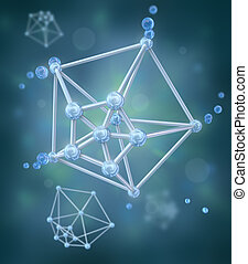 Molecule over chemical background