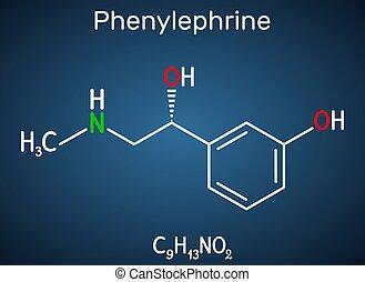 molecule., property., potent, ihm, phenylephrine, dunkel, nasal, hintergrund, chemische , formel, abschwellend, blaues, vasoconstrictor, strukturell