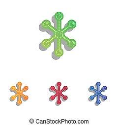 Molecule sign illustration. Colorfull applique icons set.