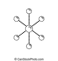 Molecule sign illustration. Vector. Black dashed icon on white background. Isolated.