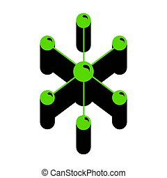 Molecule sign illustration. Vector. Green 3d icon with black side