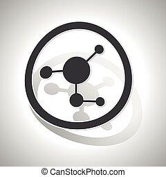 Molecule sign sticker, curved