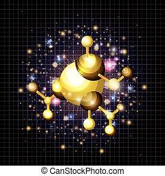 molecule structure golden icon