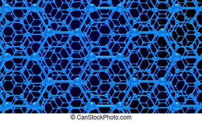 molecule structure on blue background. 3D render