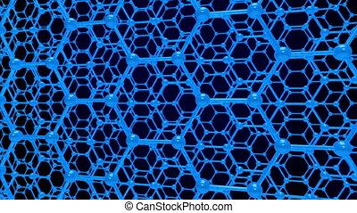 molecule structure on blue background. 3D render