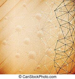 Molecule structure, wooden design background, vector illustration