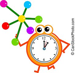 molecule time - Mr clock man holding a colourful molecule...