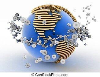 molecules., globe, résumé, fond, 3d