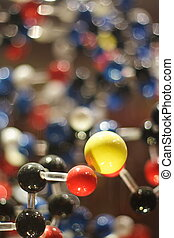 Molecules model on a blury background of same type molecules...