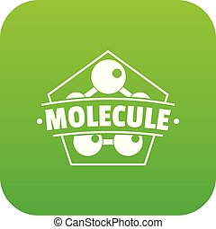 molekül, anschluss, vektor, grün, ikone