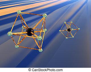 molekül, atom.