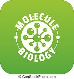 molekül, biologie, vektor, grün, ikone