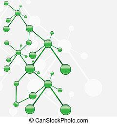molekül, grün, silber, hintergrund