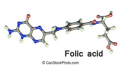 molekül, säure, vitamin, folic, b9