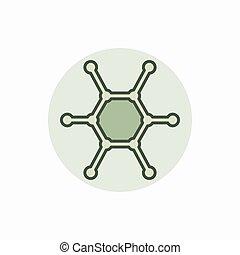molekuła, barwny, ikona