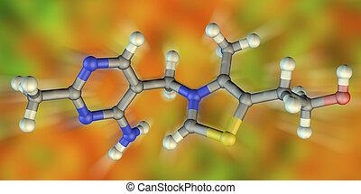 molekulares modell, b1, thiamine, vitamin