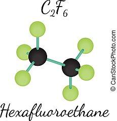 molekyl, hexafluoroethane, c2f6