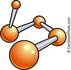 molekyl, ikon, glänsande, illustration