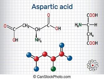 molekyl, sur, formel, aspartate), papper, cage., molecule., strukturell, asp, ark, d, modell, proteinogenic, (l-, amino, kemisk, sur, aspartic