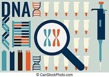 molekylar, laboratorium, biologi, begrepp