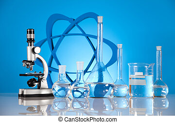 molekylen, modell, laboratorium, glasswa