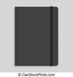 moleskin, elastisch, aantekenboekje, band, vector, black , image.