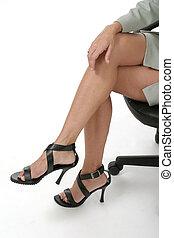 molesto, piernas, en, oficinacomercial, 1