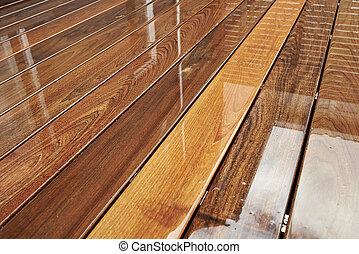 molhados, ao ar livre, decking, superfície